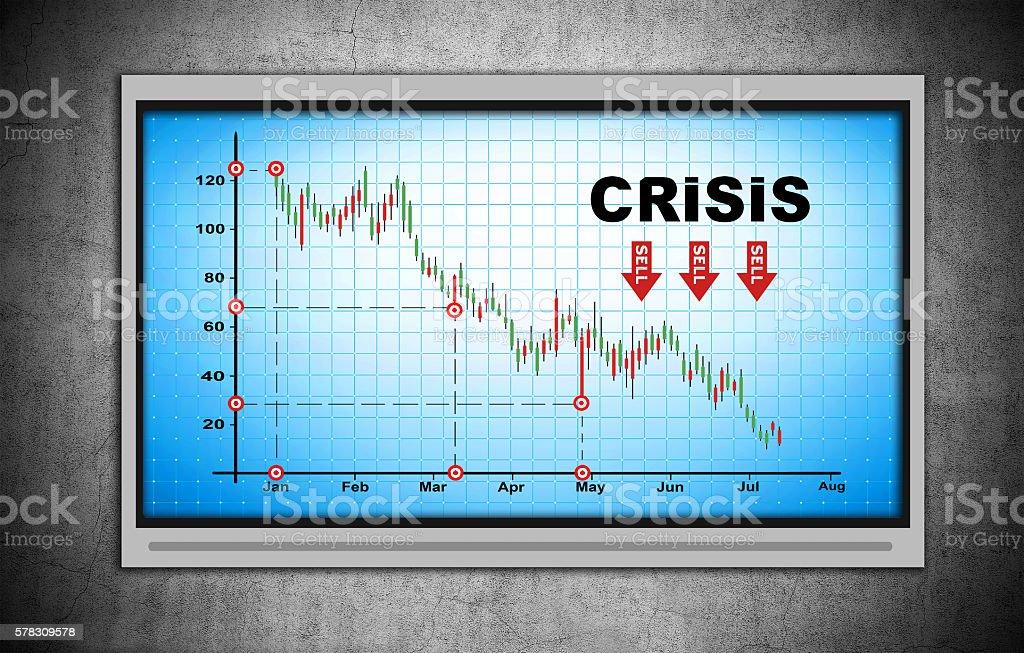 crisis chart on blue screen stock photo