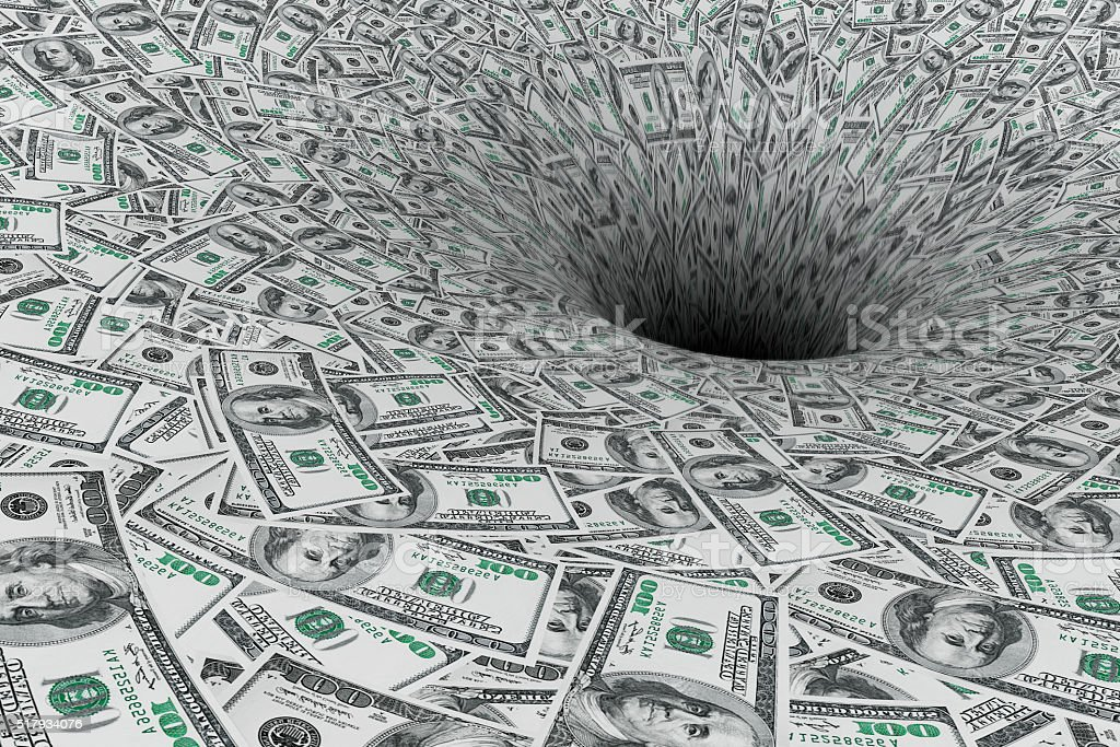 Crisis Concept. Money Flow in Black Hole stock photo