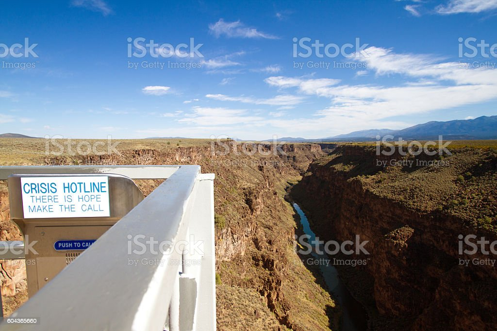 Crisis Hotline/Emergency Box on the Rio Grande Gorge Bridge stock photo