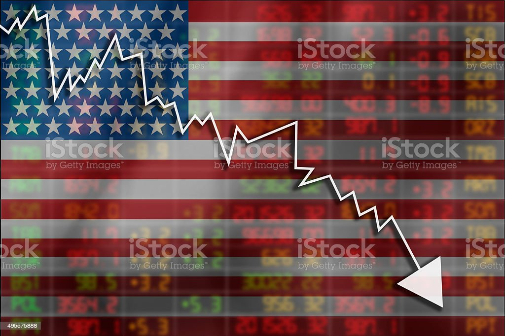 Crisis in USA - Shares Fall Graph stock photo
