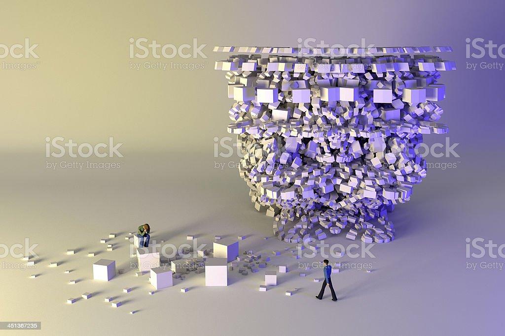 Crisis management. Help arrives for a complex problem. stock photo