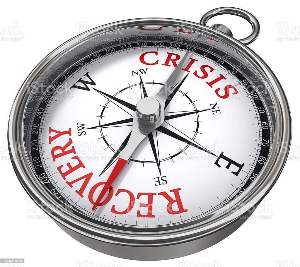 crisis vs recovery concept compass stock photo