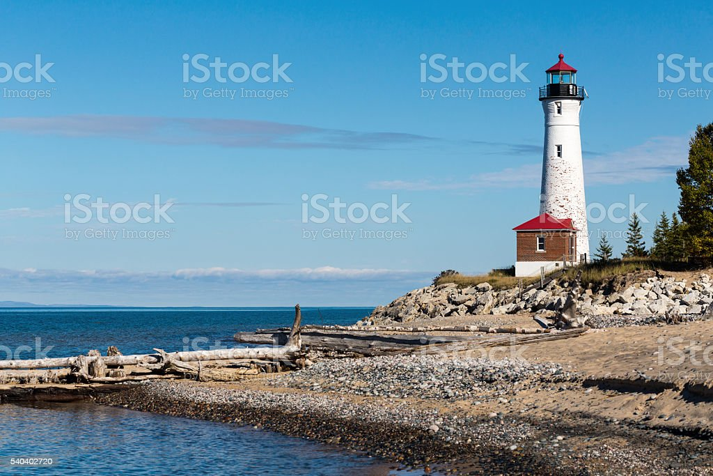 Crisp Point Light on Lake Superior in Michigan stock photo