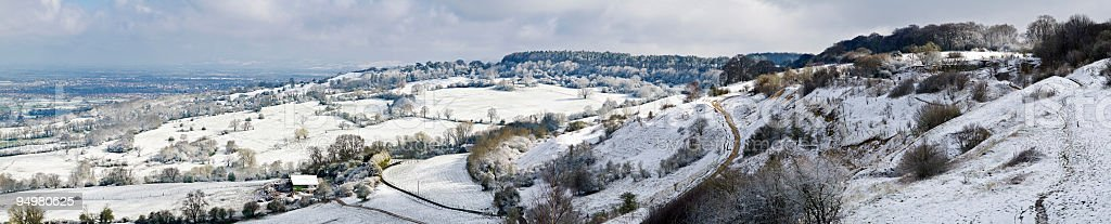 Crisp snowy fields farm royalty-free stock photo