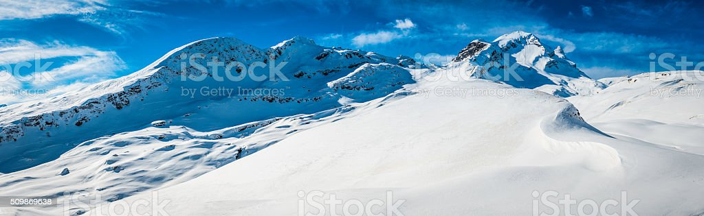 Crisp white snow Alps winter mountain peaks panorama Faulhorn Switzerland stock photo