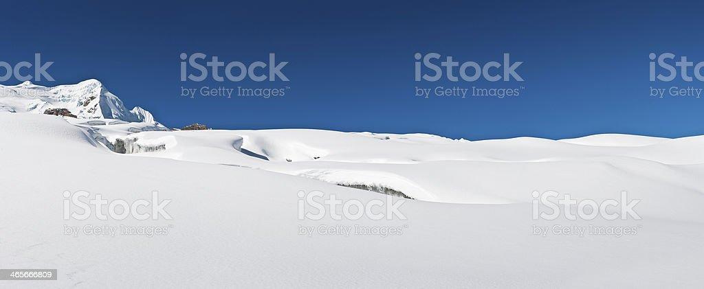 Crisp white snow on icy glacier Himalaya mountains panorama royalty-free stock photo