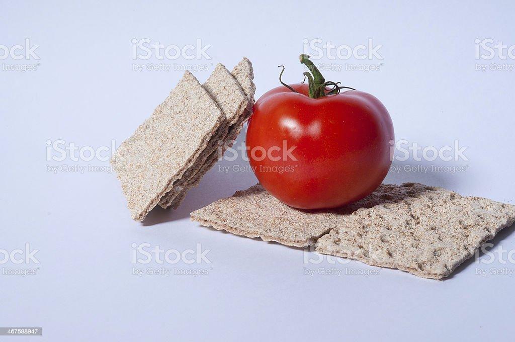 Crispbread and tomato stock photo