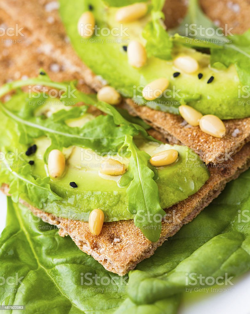 Crispbread with avocado royalty-free stock photo