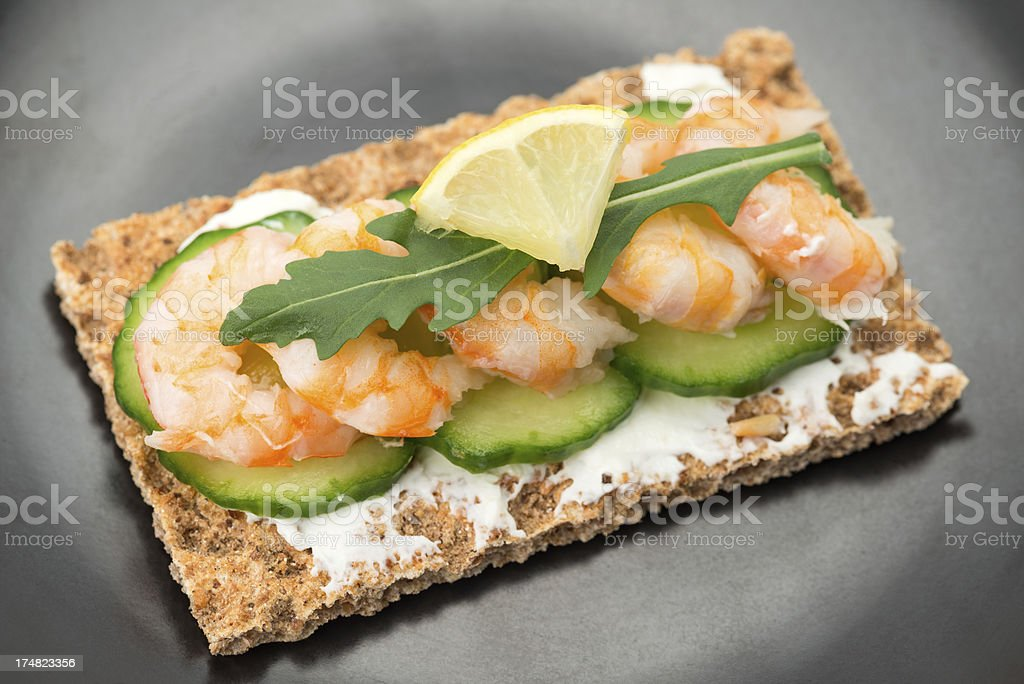 Crispbread with cream cheese and shrimp royalty-free stock photo