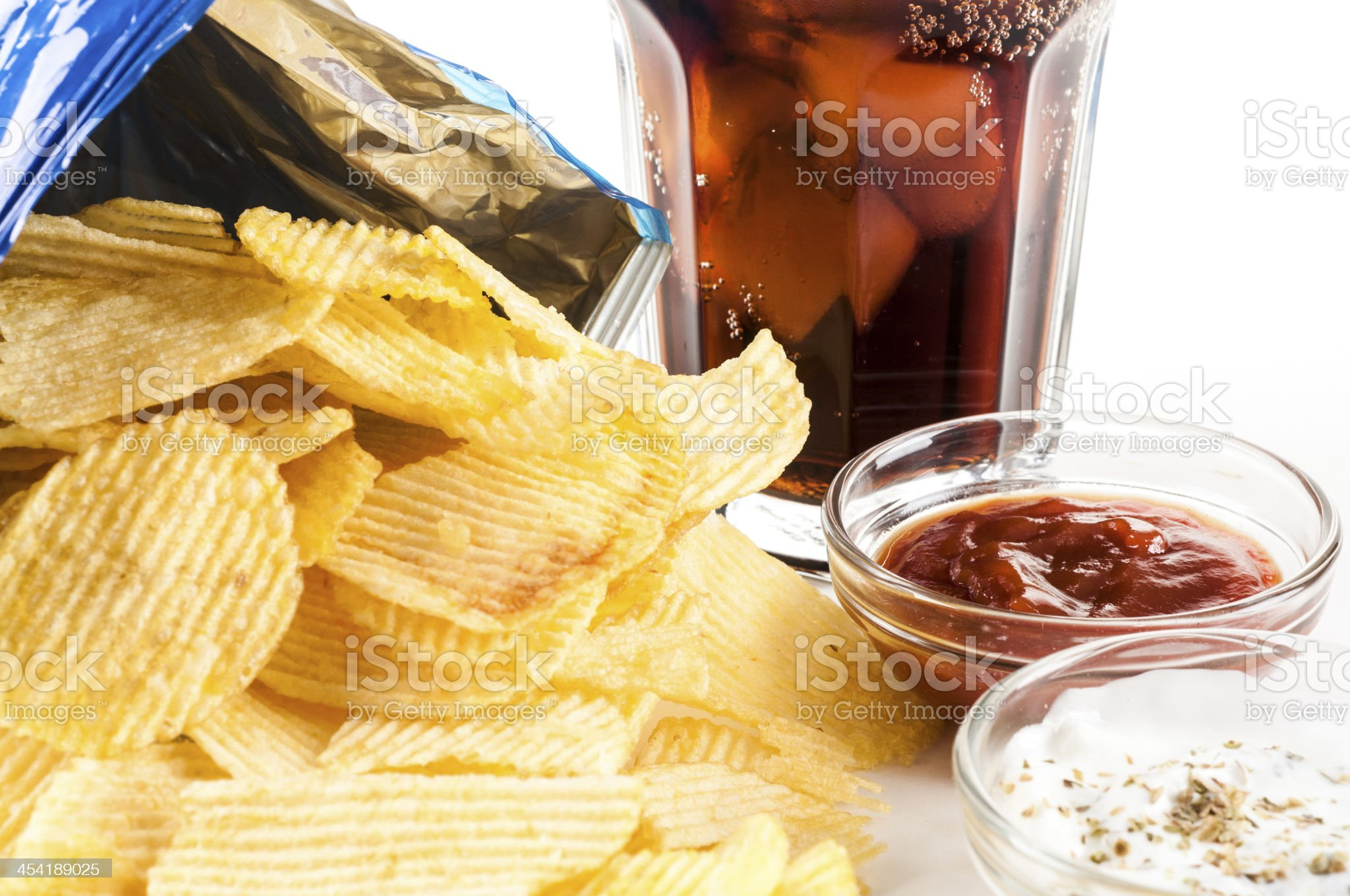crisps and coke royalty-free stock photo