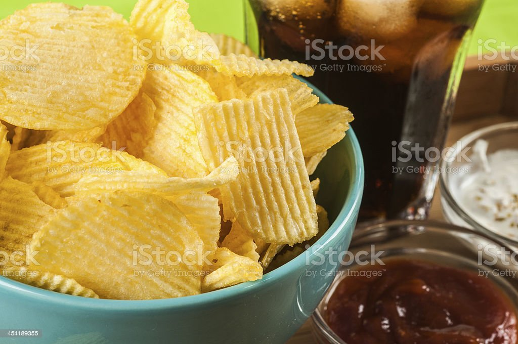 crisps and coke royalty-free stock photo