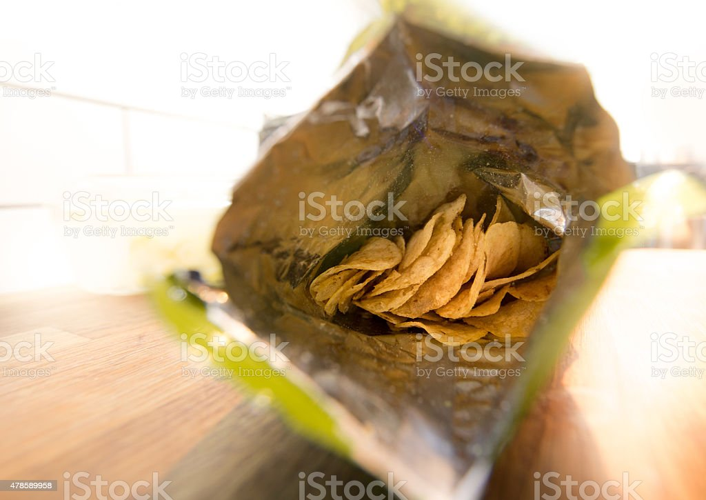 crisps inside the packet stock photo