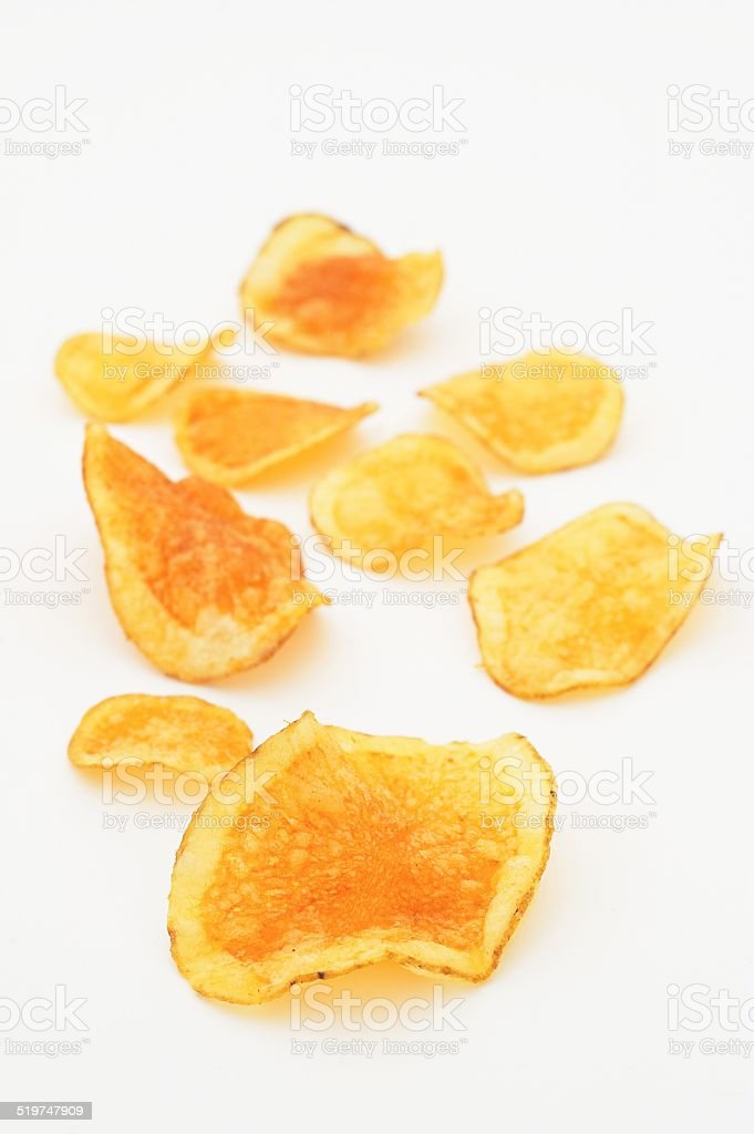 Crisps Spread Out on White stock photo