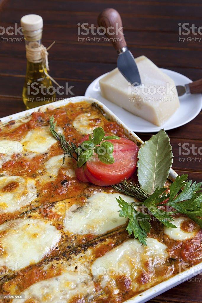 Crispy baked Melanzane alla Parmigiana stock photo
