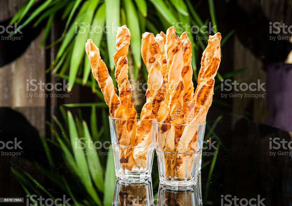 Crispy bread sticks stock photo