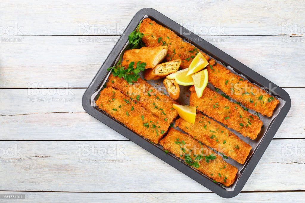 Crispy breaded Baked Chicken Chimichangas stock photo