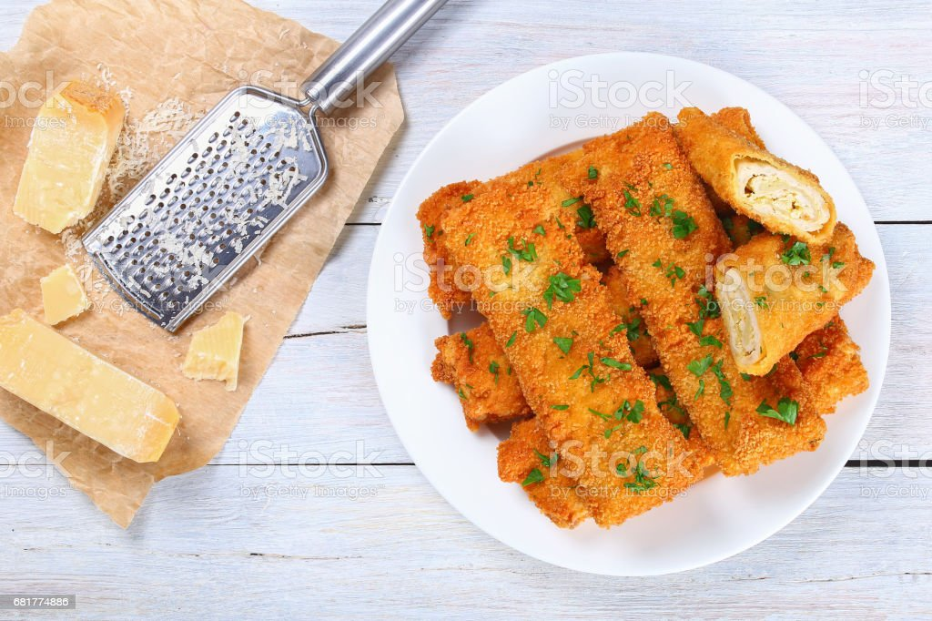 Crispy breaded Baked Chicken  Enchiladas stock photo