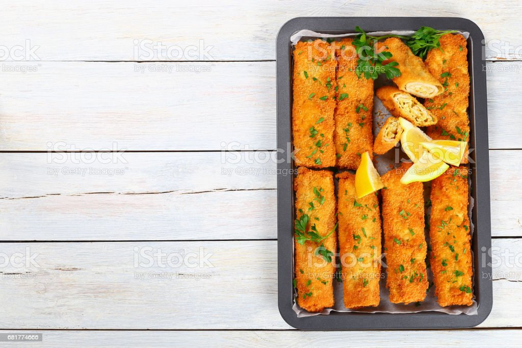 Crispy breaded Baked minced Chicken Chimichangas stock photo