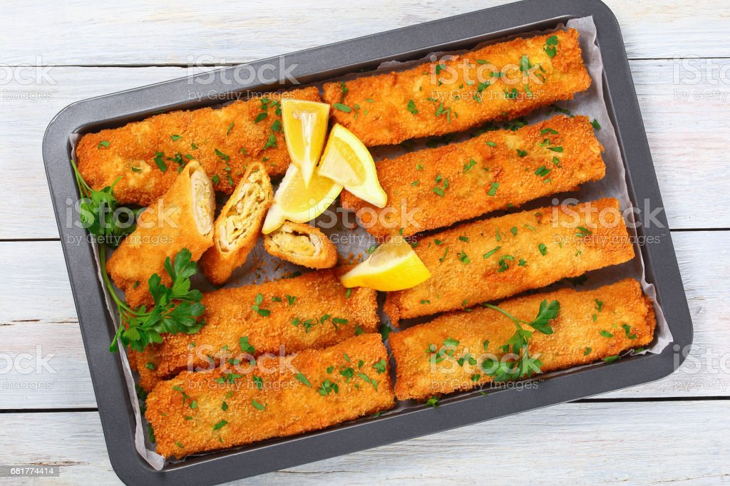 Crispy breaded taquitos stuffed with Chicken stock photo