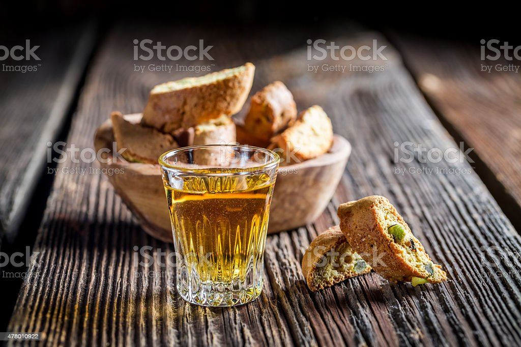 Crispy cantucci with wine stock photo
