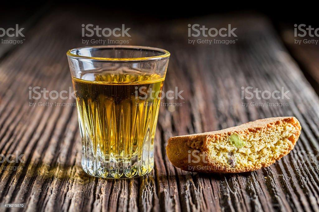 Crispy cantuccini with Vin Santo stock photo