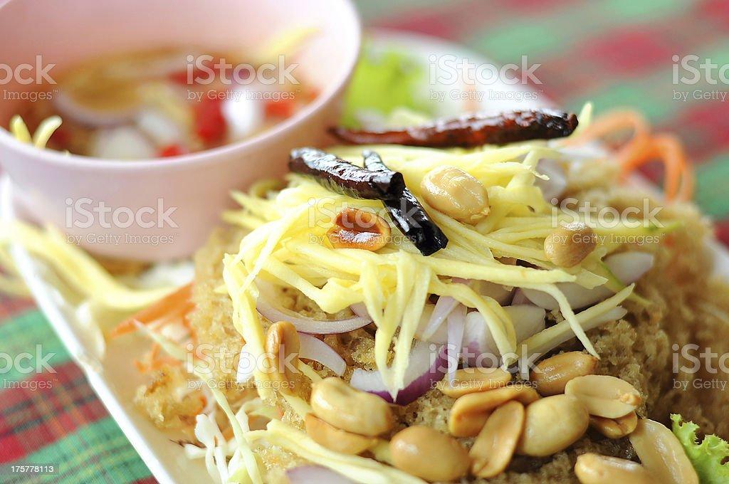 Crispy catfish salad, Thai Food stock photo