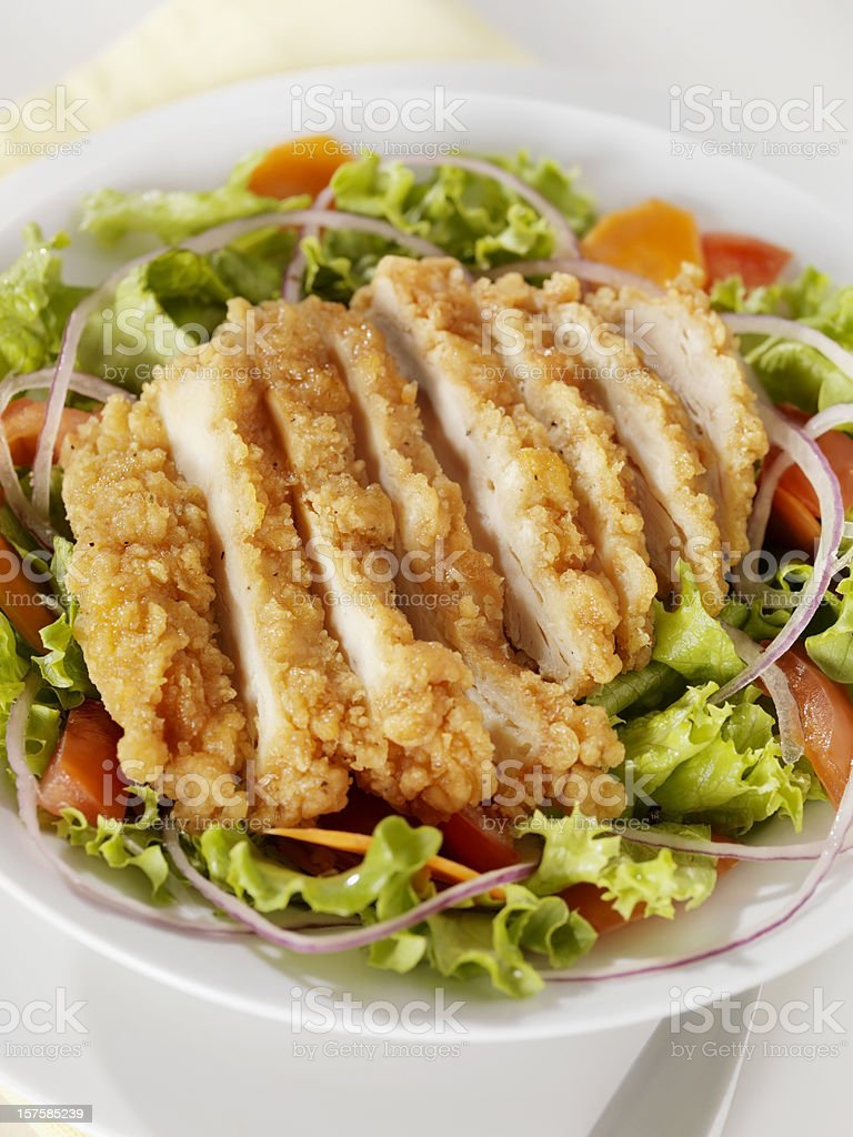 Crispy Chicken Breast Salad stock photo