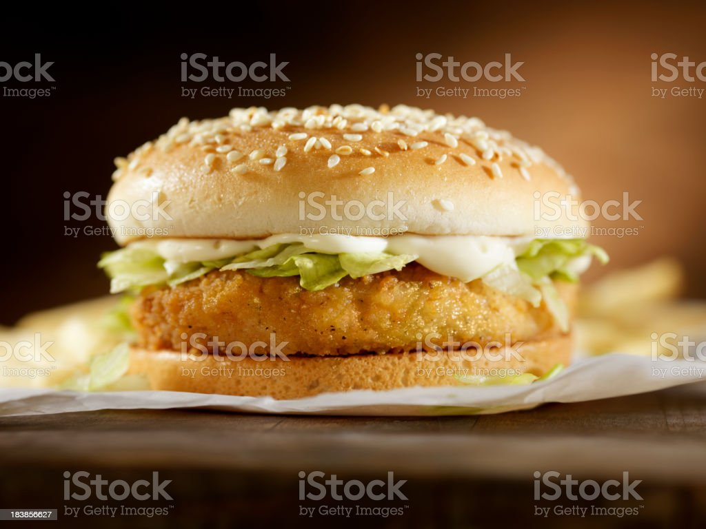 Crispy Chicken Burger stock photo