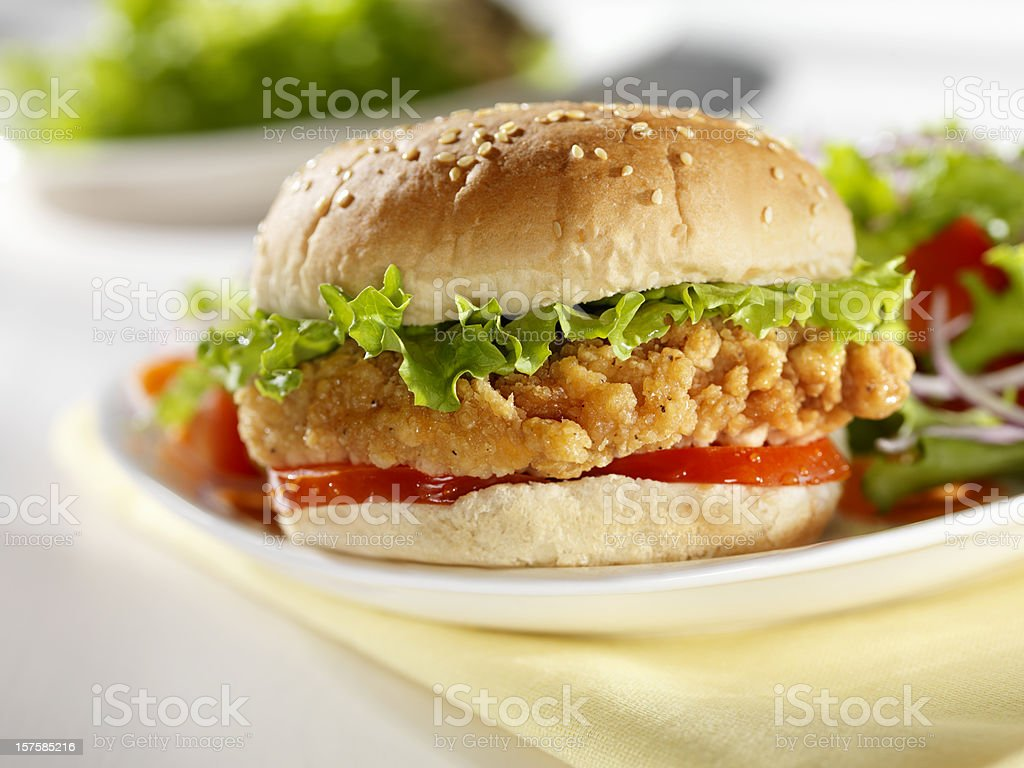 Crispy Chicken burger with a side Salad stock photo