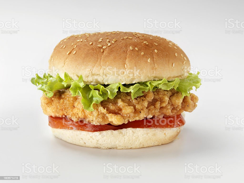 Crispy Chicken Burger with Lettuce and Tomato stock photo