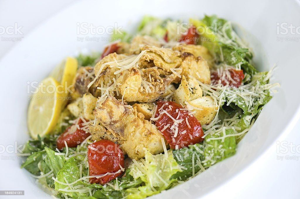 Crispy Chicken Caesar Salad royalty-free stock photo