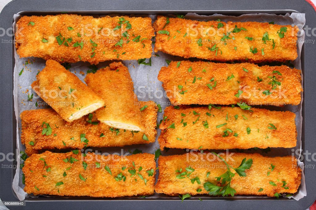 Crispy Chicken cheese breaded tortilla roll-ups stock photo