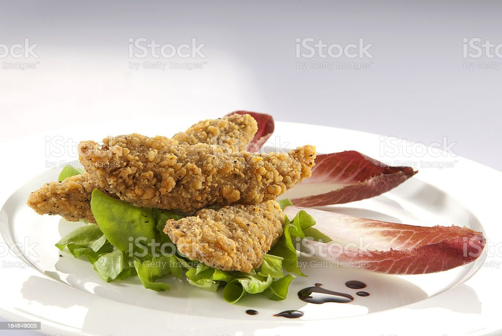Crispy chicken fingers stock photo