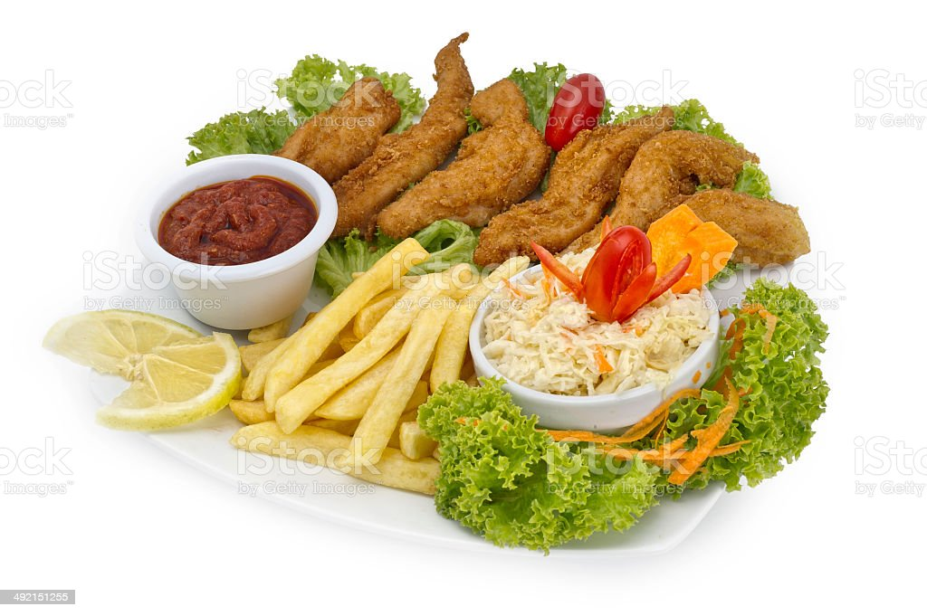 Crispy Chicken Platter With Fries royalty-free stock photo