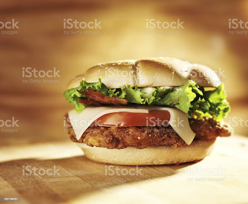 crispy chicken sandwich stock photo