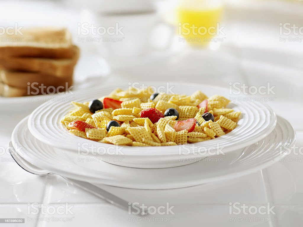 Crispy Corn Breakfast Cereal with Fruit royalty-free stock photo