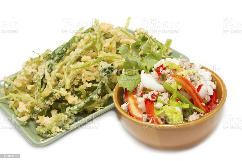 Crispy deep fried morning glory with spicy seafood salad royalty-free stock photo