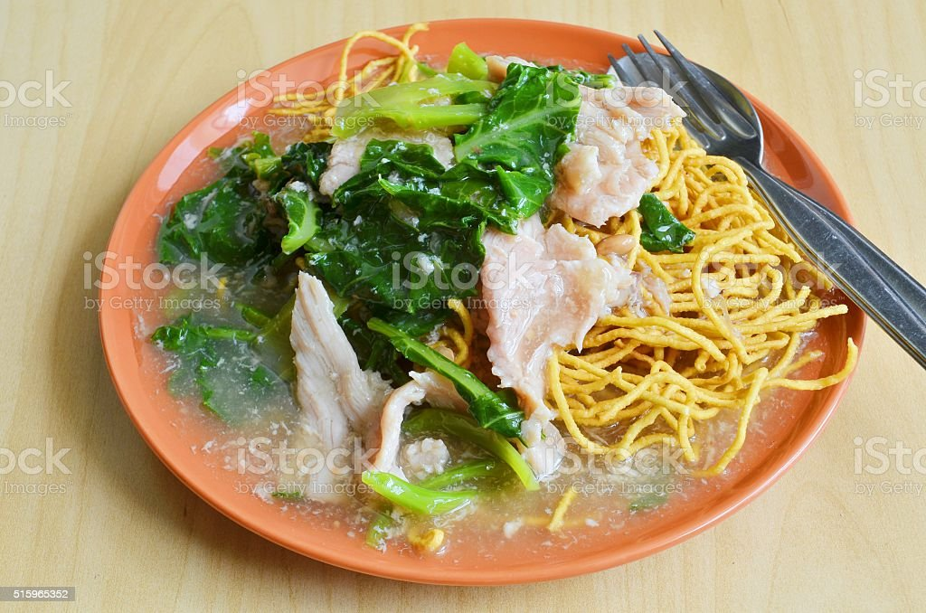Crispy egg noodles with Kale stock photo