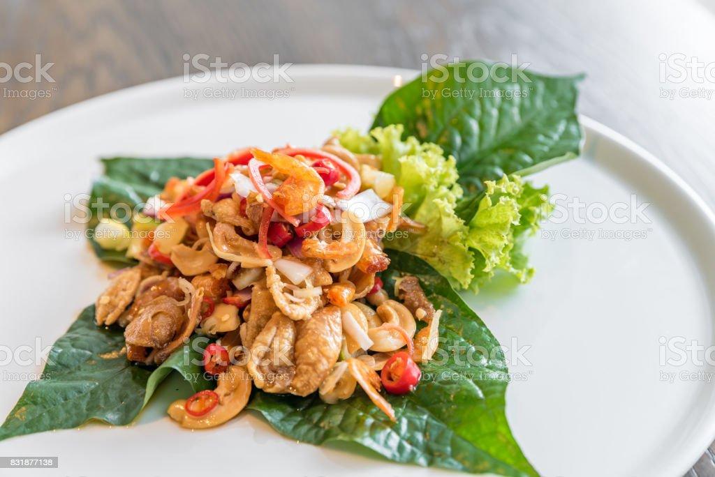Crispy fish maw spicy salad stock photo