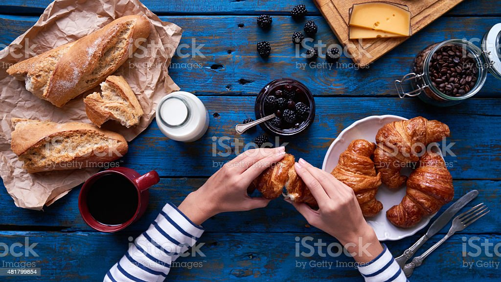 Crispy French breakfast stock photo