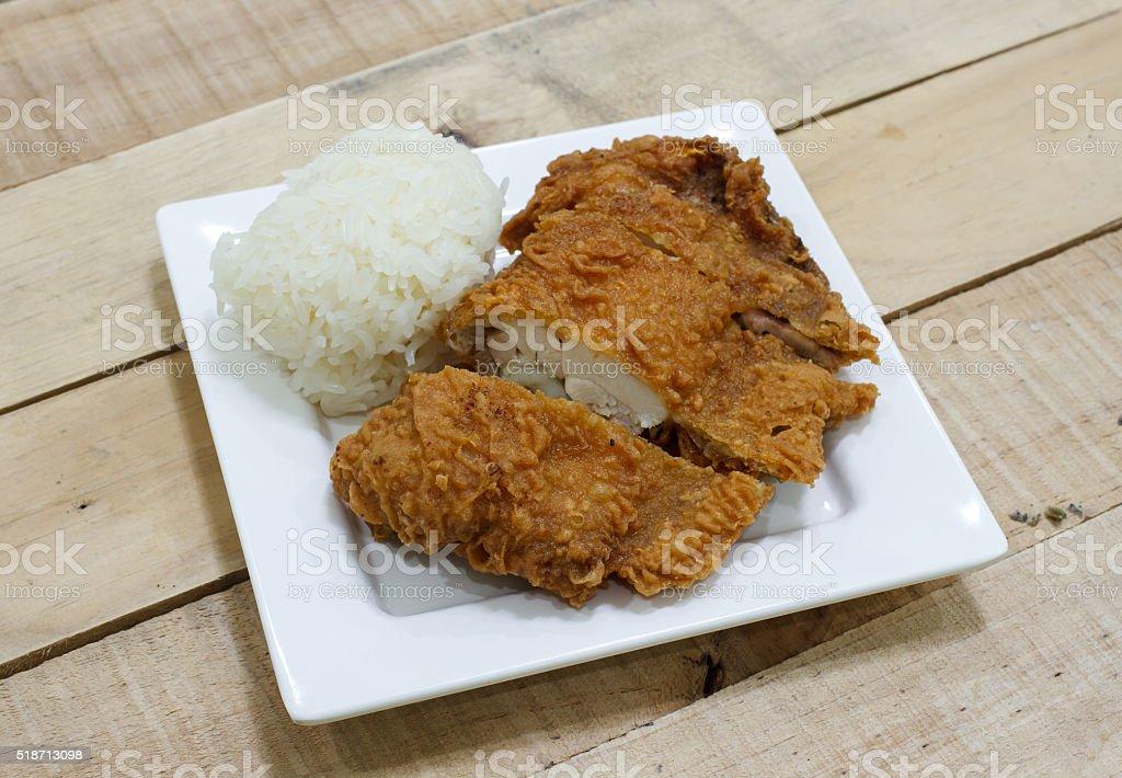Crispy fried chicken and sticky rice stock photo