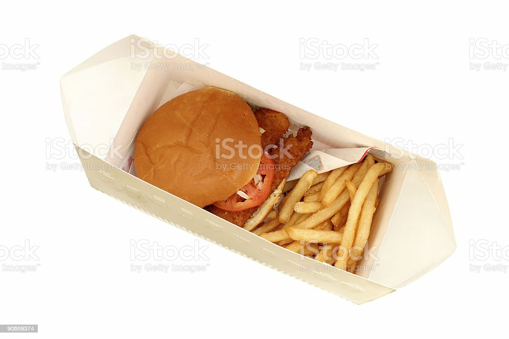 Crispy Fried Fish Sandwich and Fries in a Box royalty-free stock photo