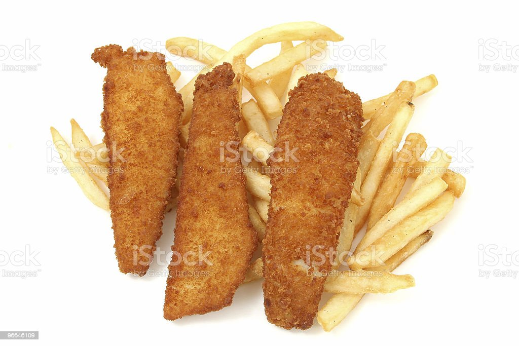 Crispy Fried Fish Sticks and Fries royalty-free stock photo