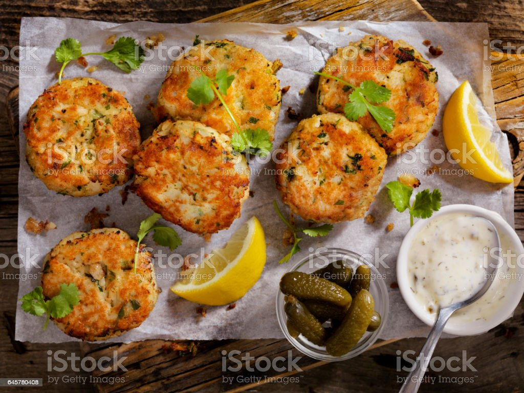 Crispy Golden Fish Cakes stock photo