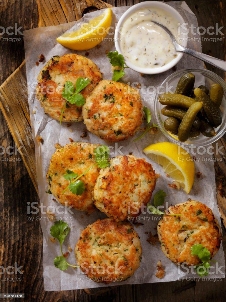 Crispy Golden Fish Cakes stock photo