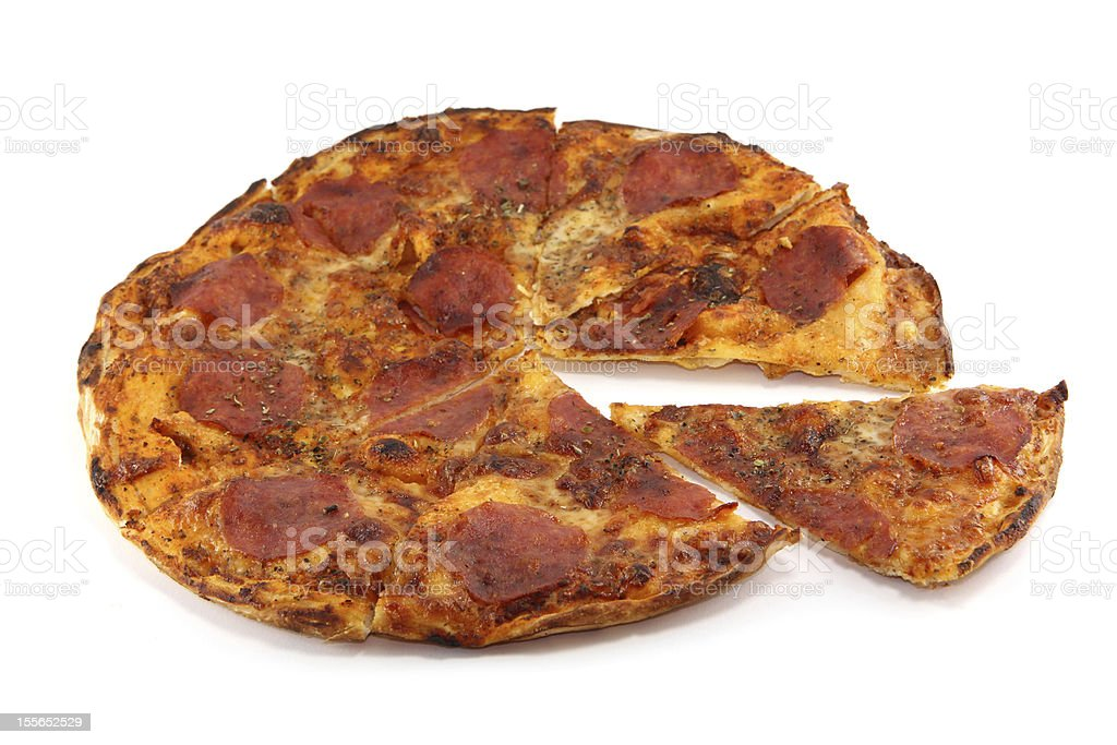 Crispy Home-made pepperoni pizza royalty-free stock photo
