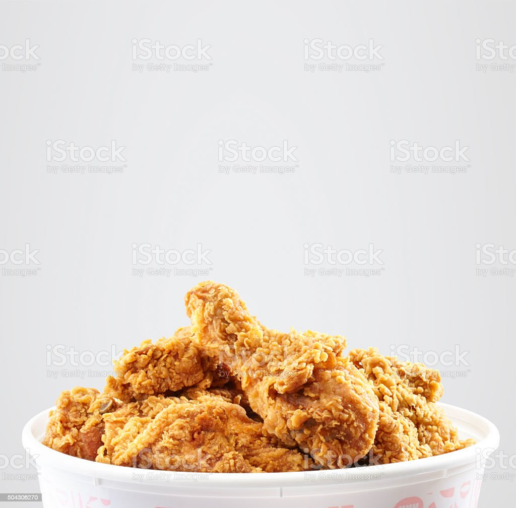crispy kentucky fried chicken bucket stock photo