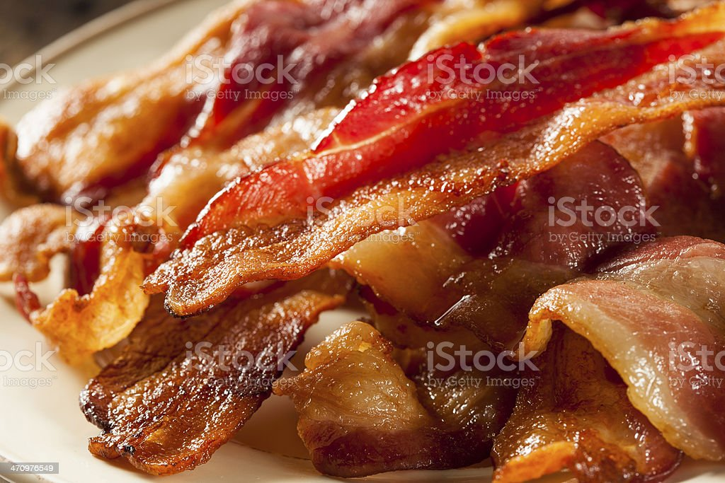 Crispy Organic Unhealthy Bacon stock photo