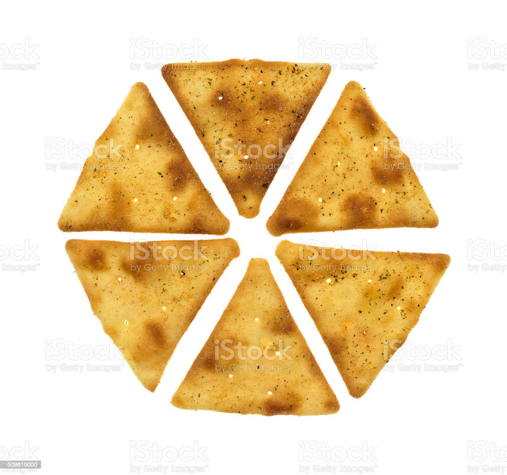 Crispy pita snack crackers top view stock photo
