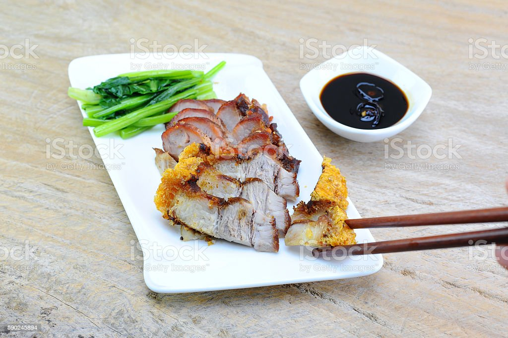 crispy pork and red pork place in white plate stock photo